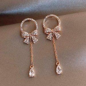 18K Rose Gold CZ Earrings